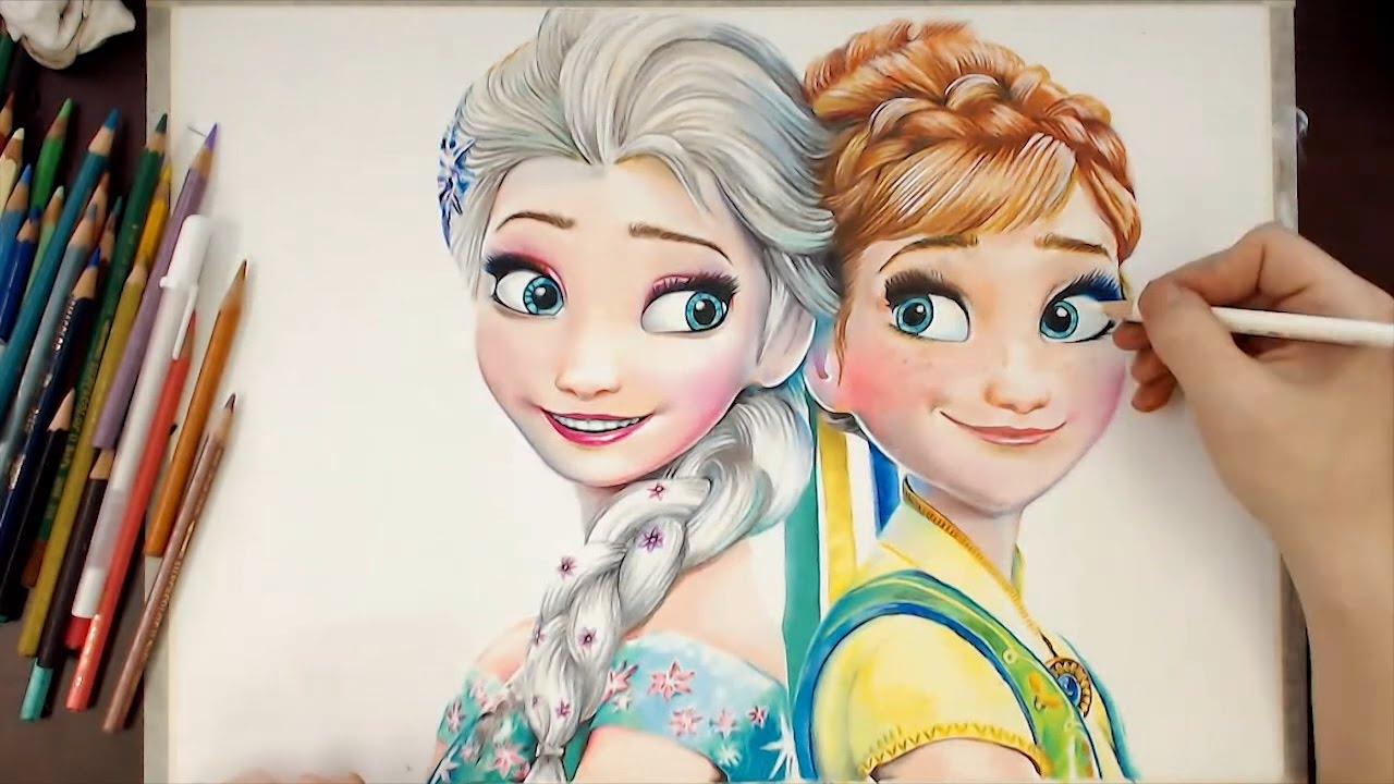 1280x720 Drawing Elsa Amp Anna