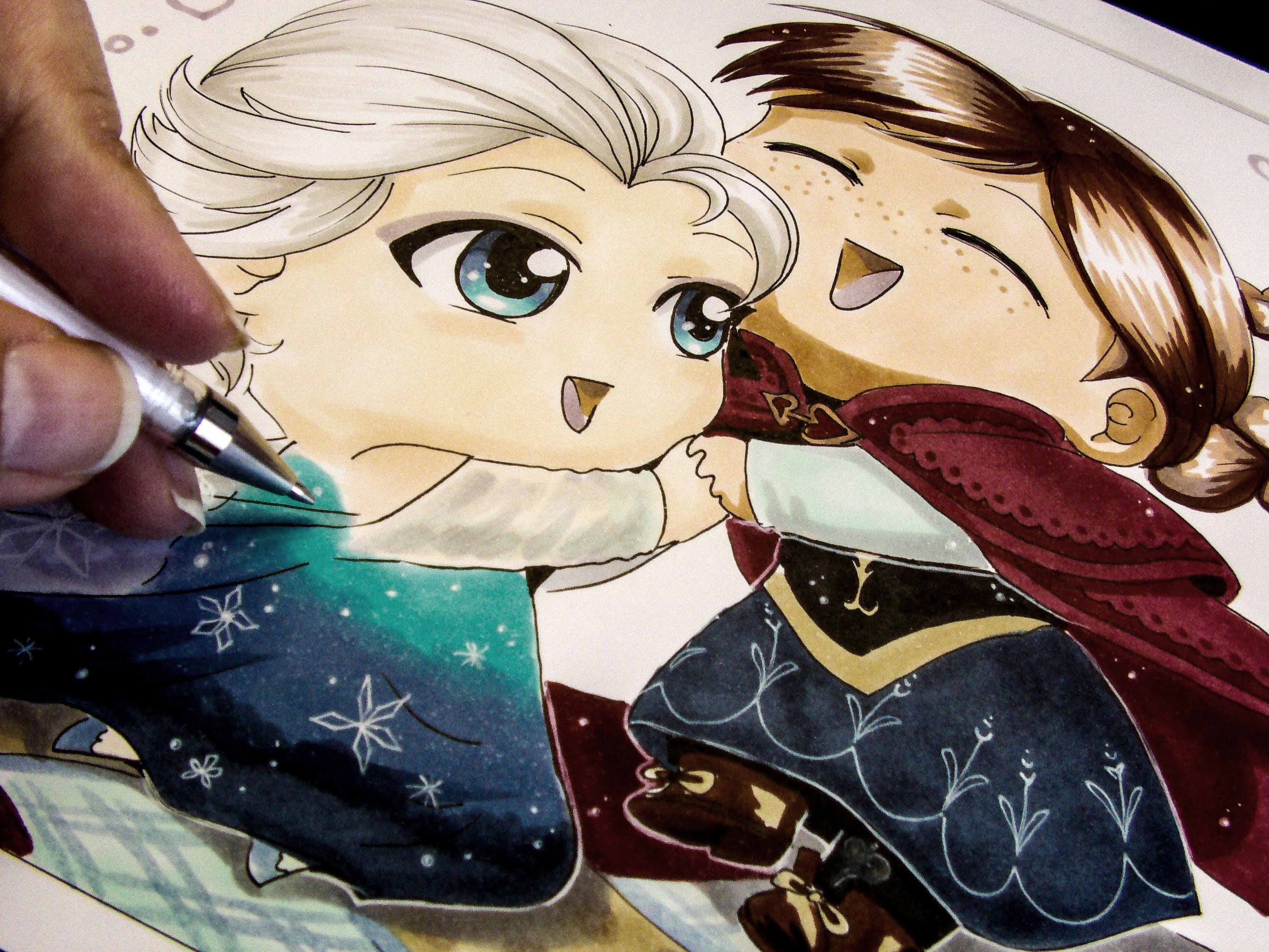 3000x2250 Drawing Chibi Anna And Elsa From Frozen