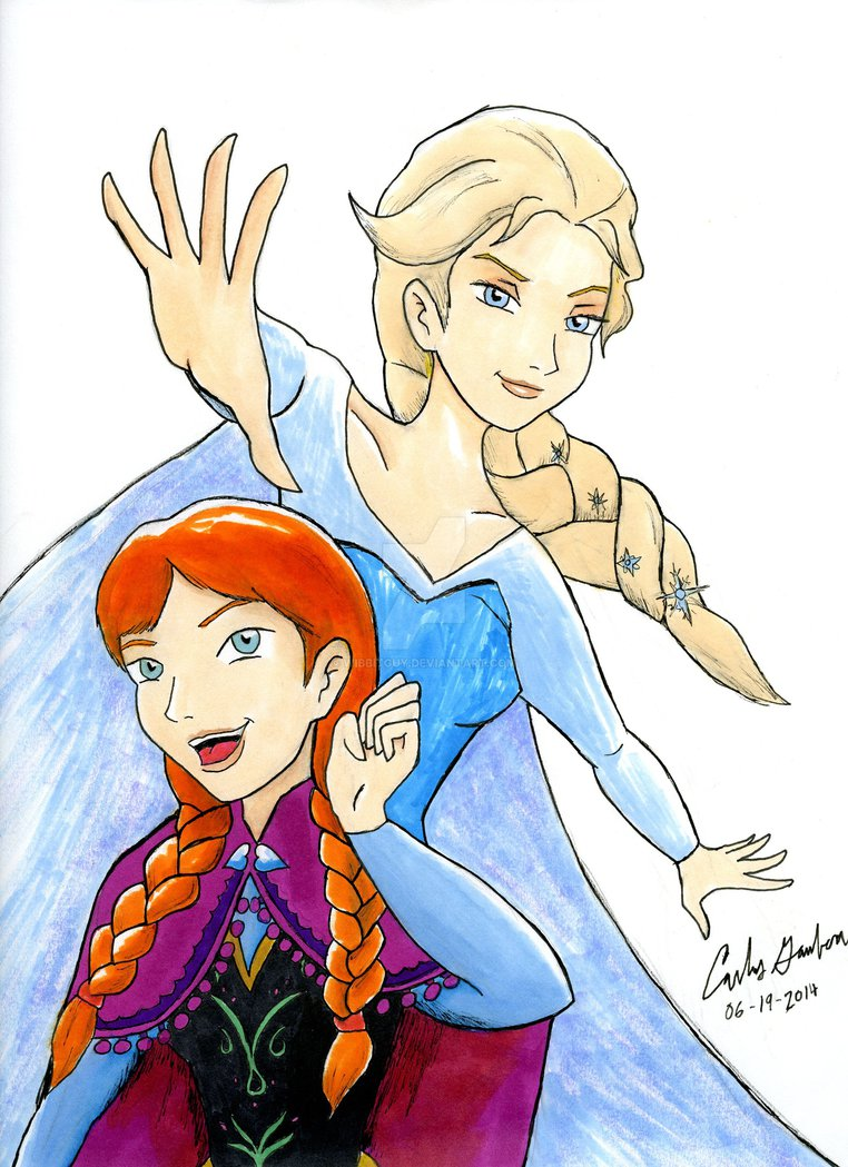 762x1049 Frozen Anna And Elsa Raw Drawing By Wibbitguy