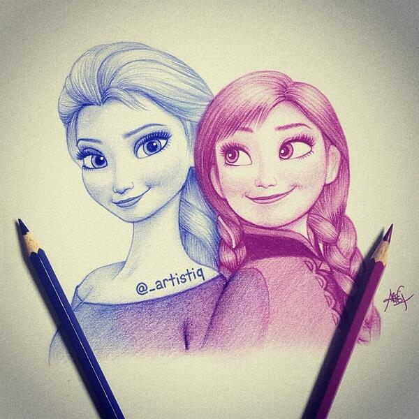 600x600 Artistiq On Twitter Elsa And Anna Drawing )