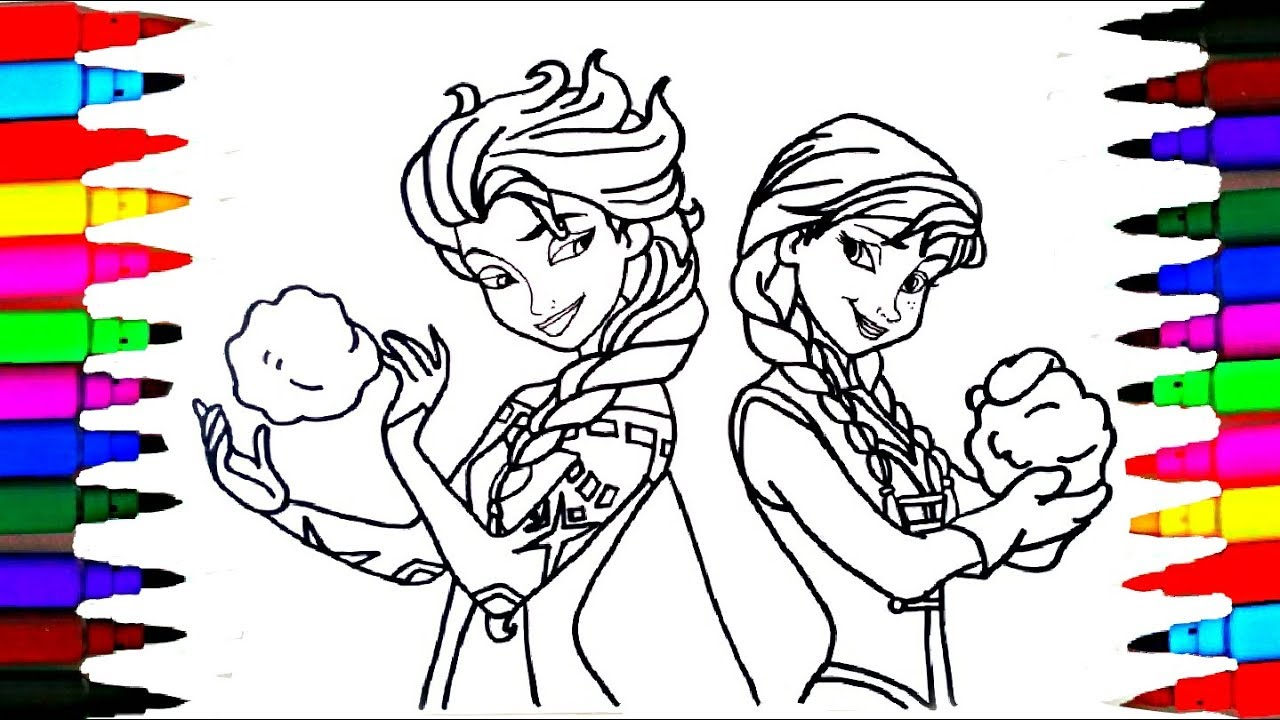 1280x720 Disney Frozen Elsa And Anna Drawing Coloring For Kids L Art