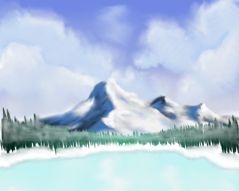 1000x800 Frozen Lake View. Scenery Practise By P Manwag