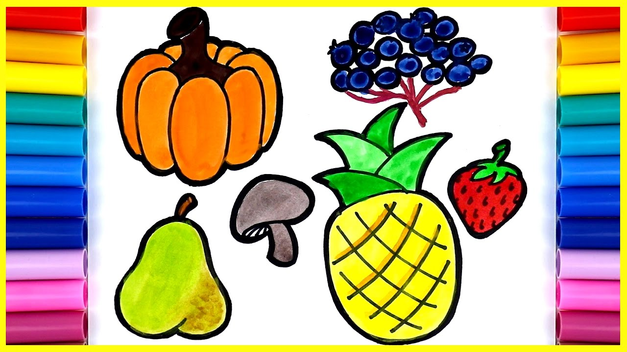 1280x720 Easy Drawing For Kids How To Draw Fruits Amp Vegetables Pumpkin