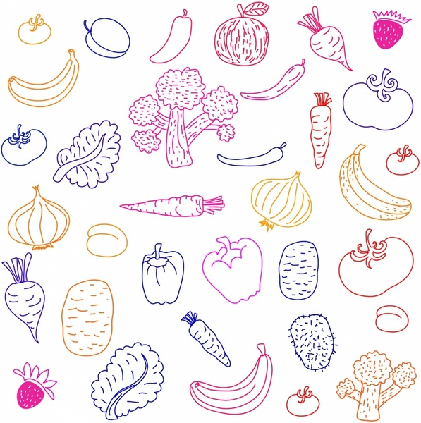 597x600 Fruit And Vegetable Free Vector In Adobe Illustrator Ai ( Ai