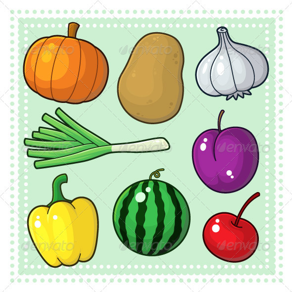 590x590 Fruits And Vegetables Drawings For Kids