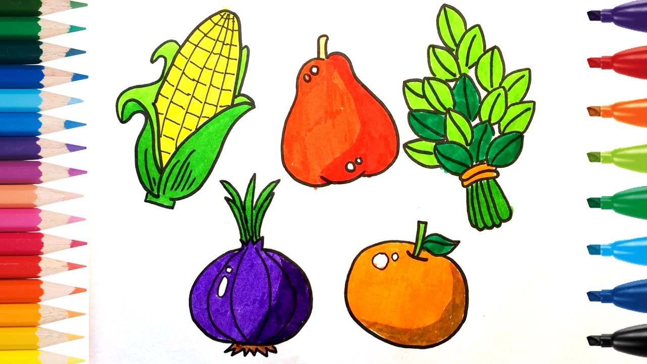 1280x720 How To Drawing And Coloring Fruits And Vegetables