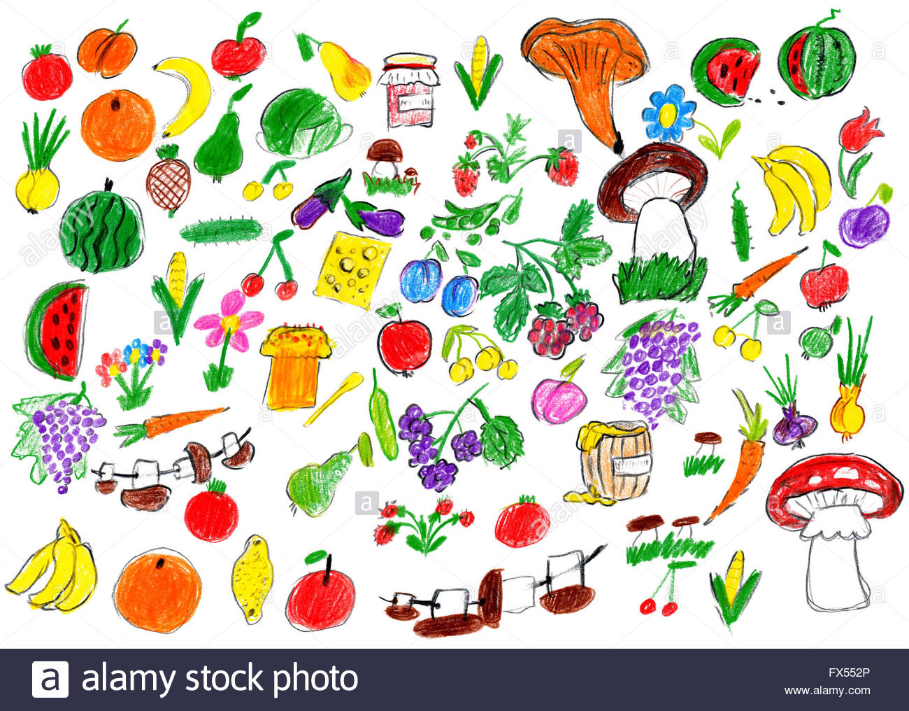 1300x1016 Cartoon Food Collection, Fruit And Vegetables, Child Drawing