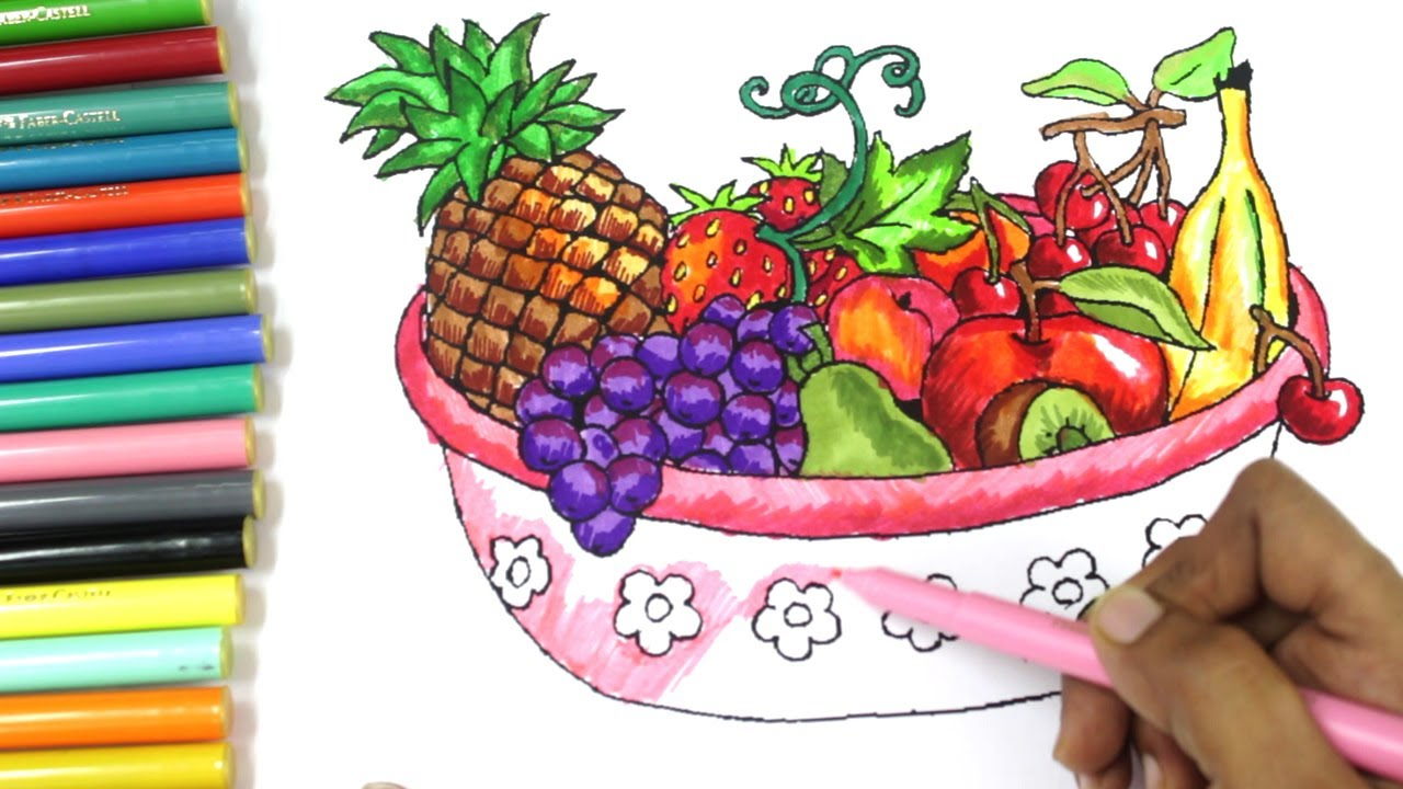 1280x720 Drawing Of Fruit Basket For Kids How To Draw Fruits And Vegetables