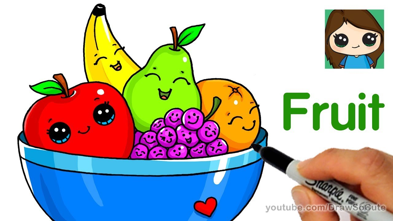 1280x720 How To Draw A Bowl Of Fruit Easy