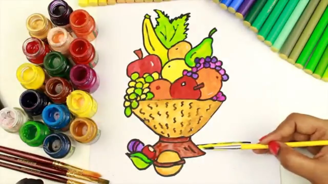 1280x720 How To Draw And Coloring Fruit Basket Coloring Pages For Girls,how