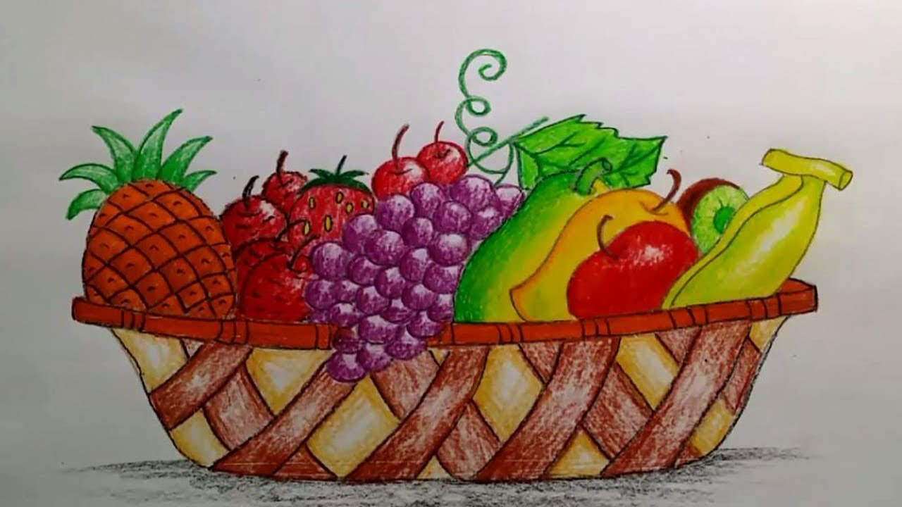 1280x720 How To Draw A Beautiful Fruit Basket Step By Step (Very Easy