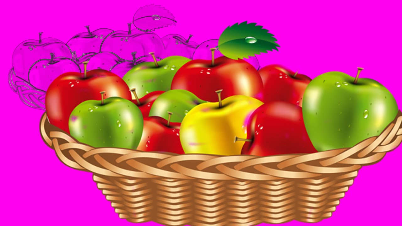 1280x720 Red Apple Green Fruits Basket Drawing For Kids And Pre
