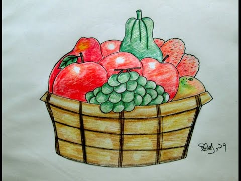 480x360 How To Draw Fruit Basket Step By Step