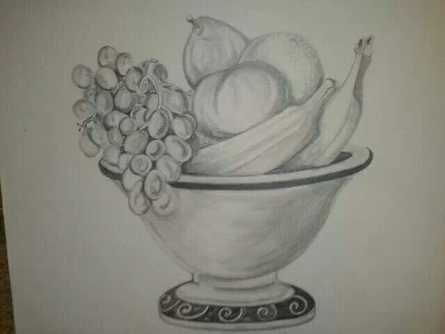 640x480 Pencil Drawing Fruit Bowl 2012 Things I'Ve Made, Created