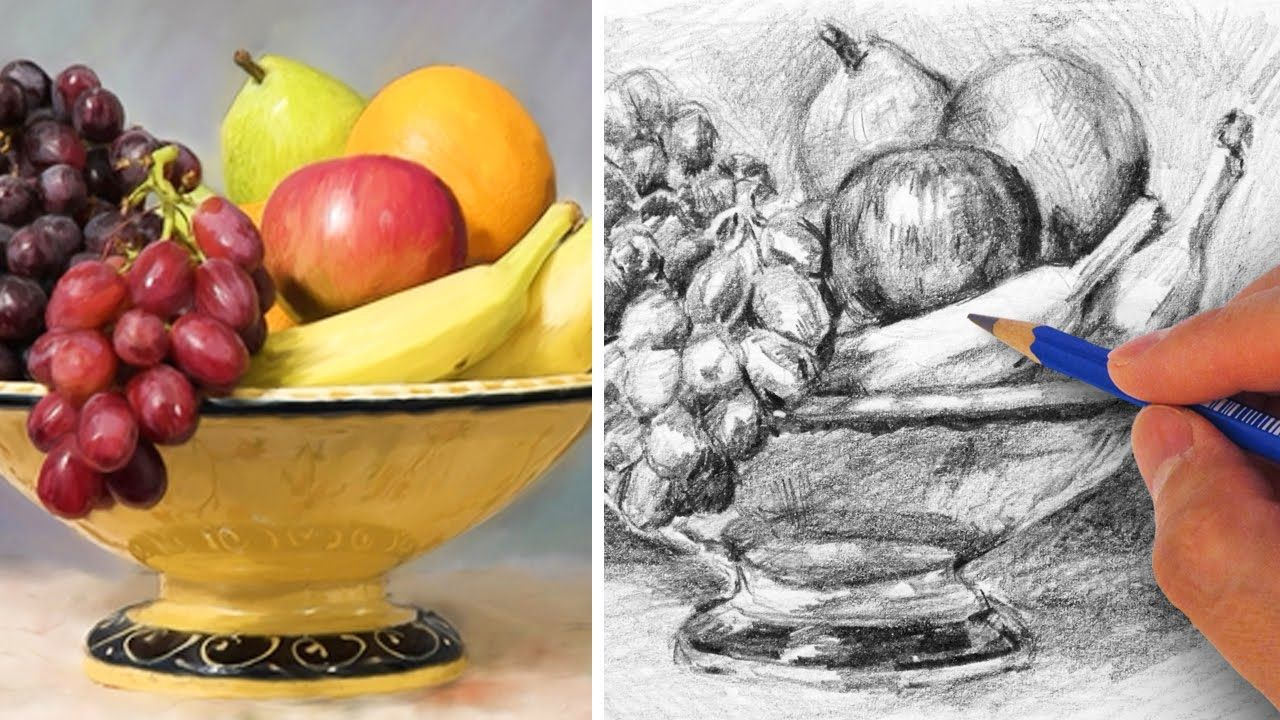 1280x720 How To Draw A Fruit Bowl With Pencil Color Drawings Amp Videos