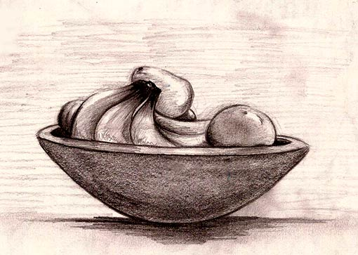 510x363 Pictures Bowl Of Fruit Drawing,