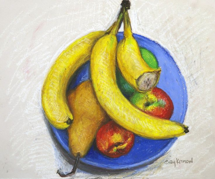 736x613 Oil Pastel Drawing Fruit