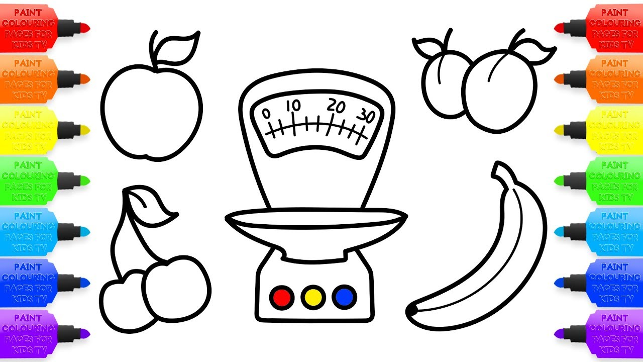 1280x720 Baby Toy Kitchen Scales And Fruits Coloring Book And Drawing