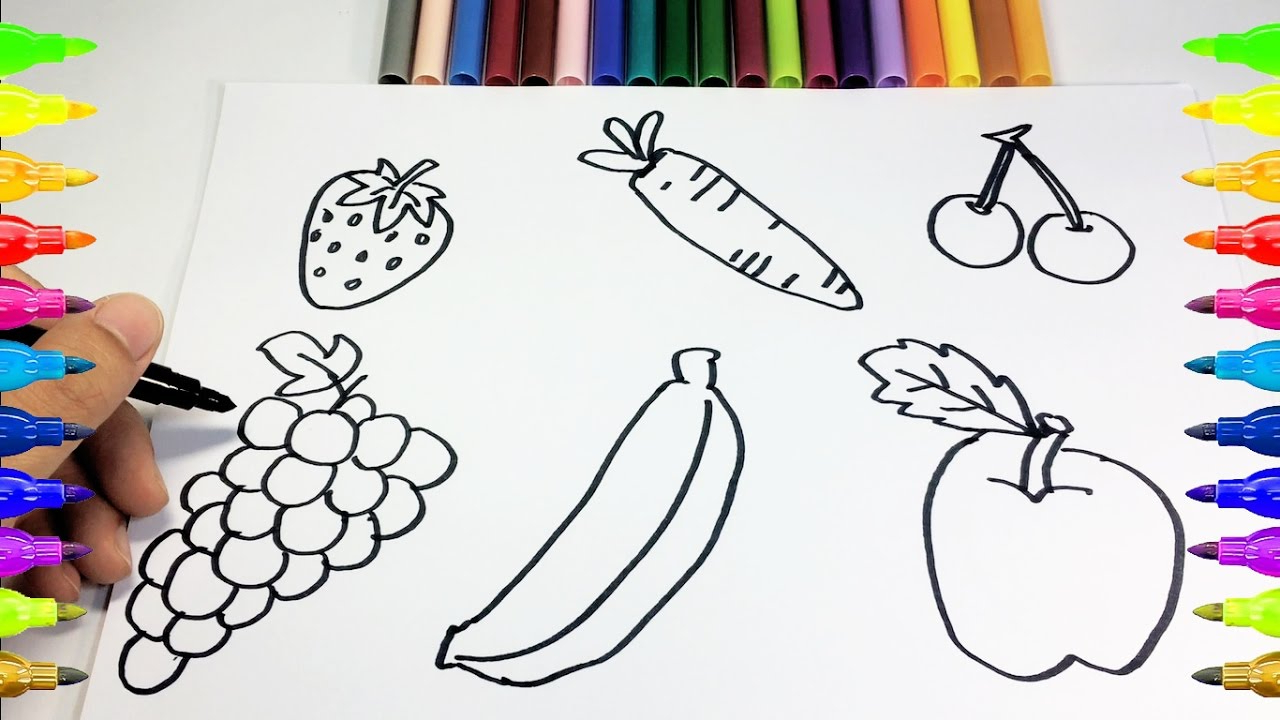1280x720 Colored Drawing Of Fruits For Kids How To Drawing And Coloring