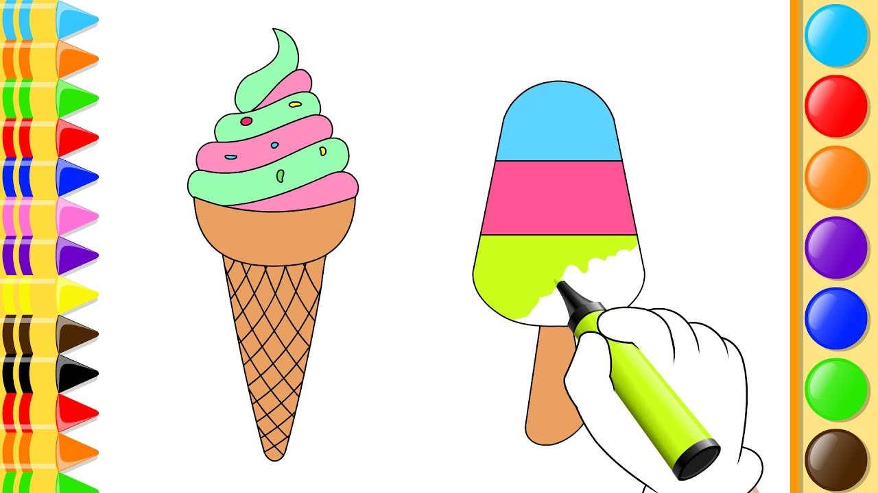 1280x720 Coloring Ice Cream And Fruits, Drawing Fruits For Kids