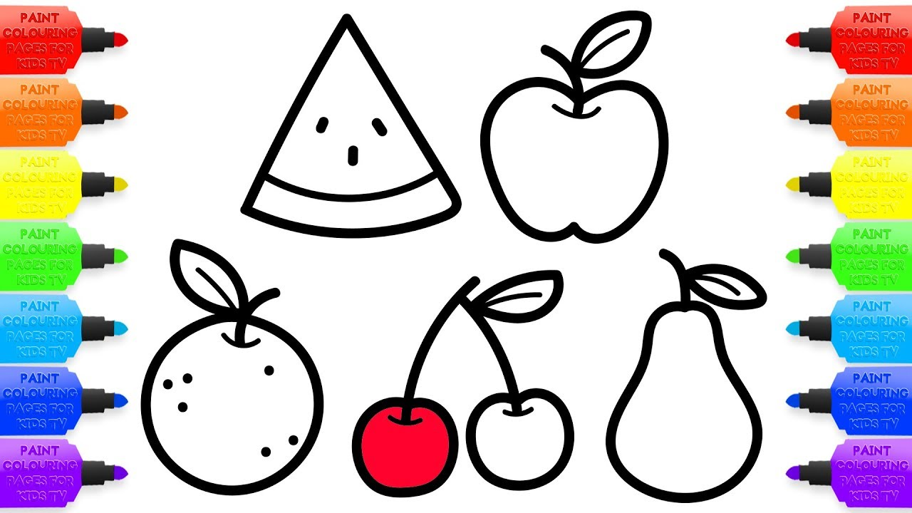 1280x720 How To Draw Fruits For Baby Coloring Book And Drawing For Kids