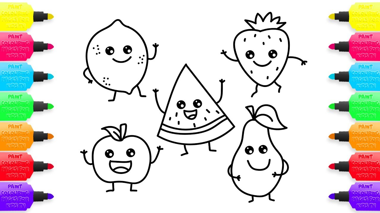 1280x720 How To Draw Funny Fruit Coloring Pages For Kids Creativity