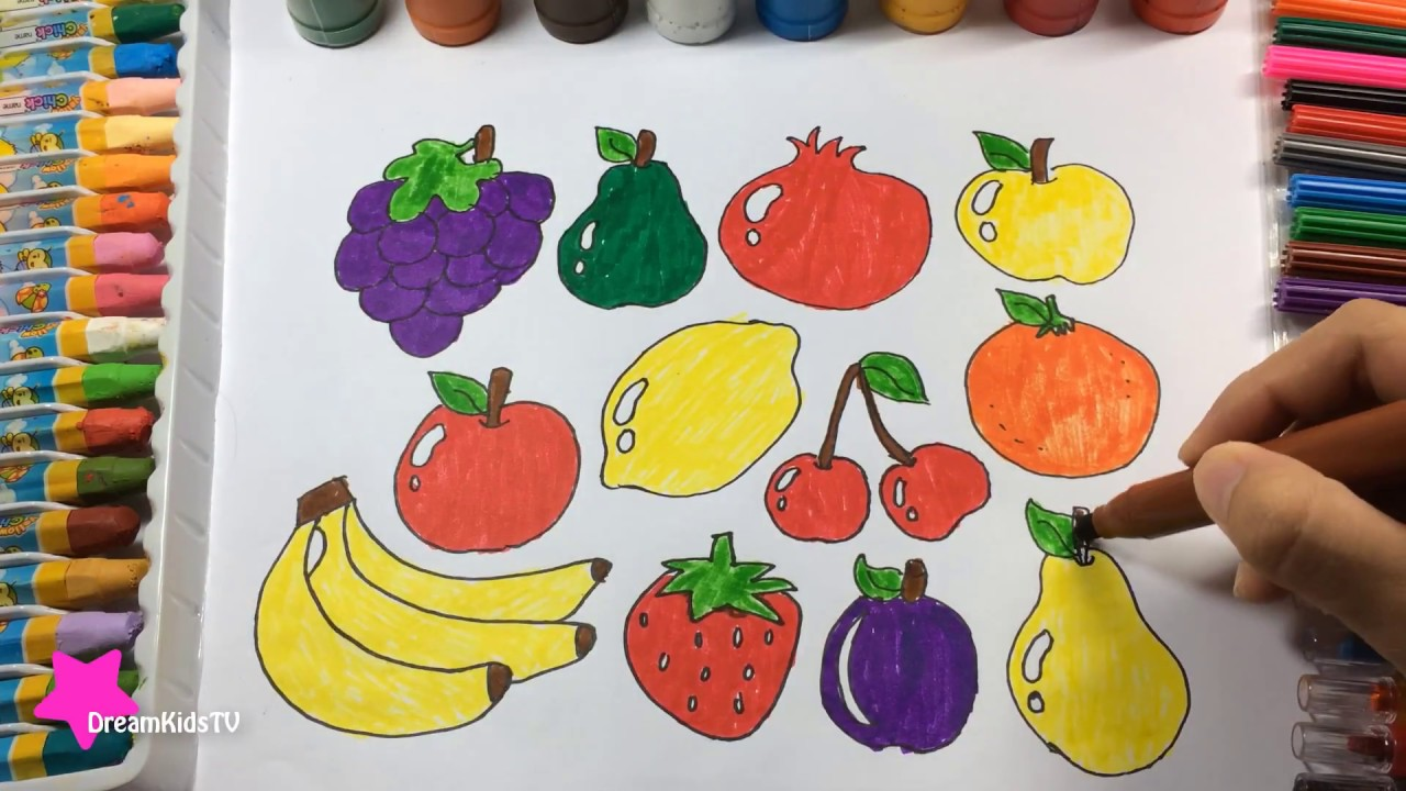 1280x720 How To Draw A Fruit Teach Drawing Fruits Colouring For Kids