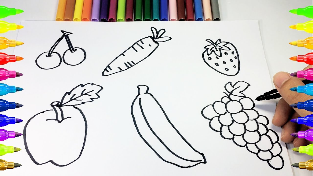 1280x720 How To Drawing And Coloring Fruits