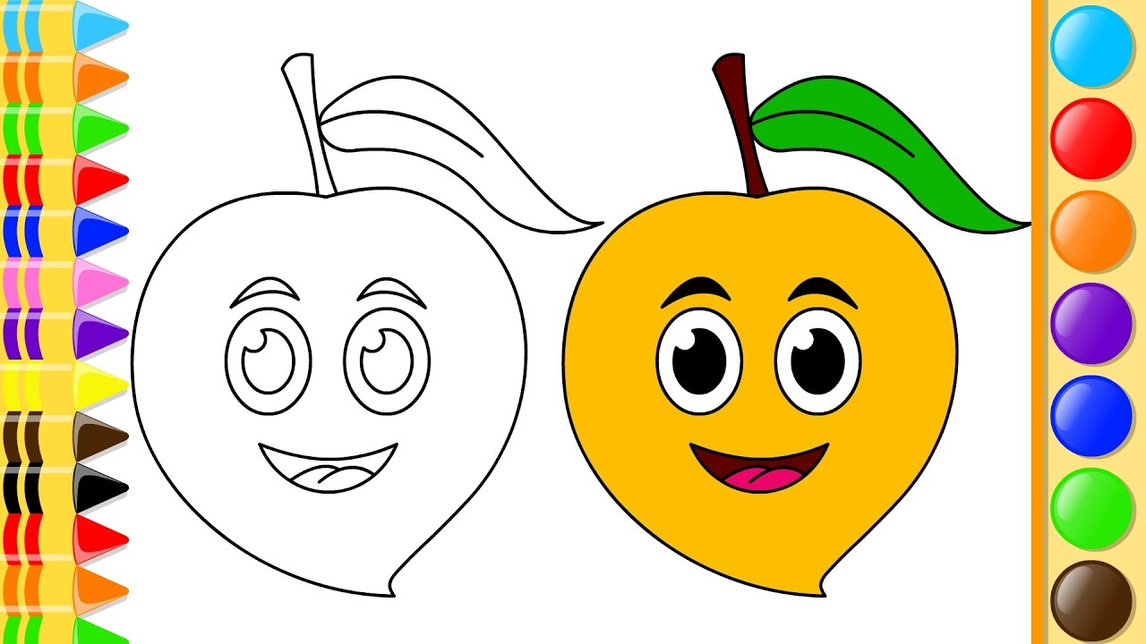 1280x720 Learn To Draw Mango Fruit With Coloring Pages And Colored Marker