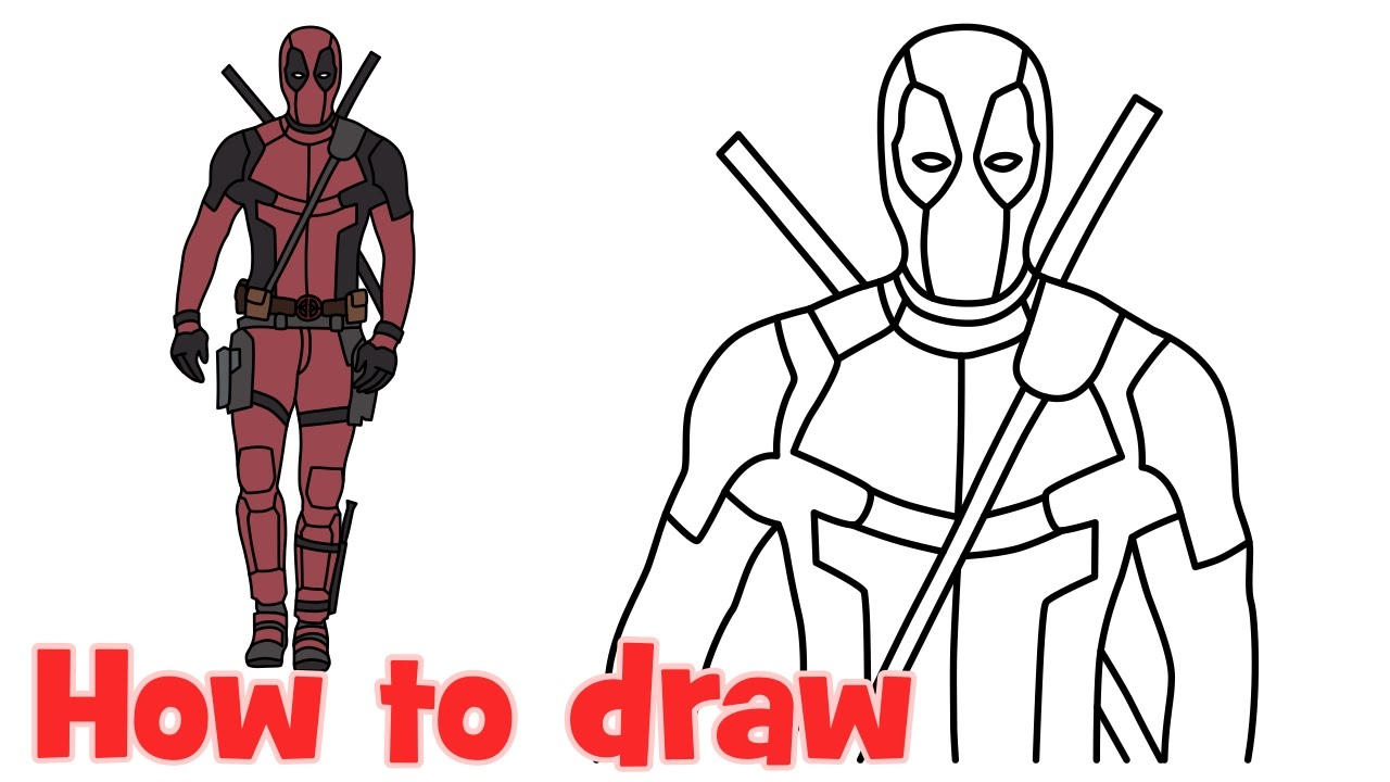 1280x720 How To Draw Deadpool Superhero Full Body Step By Step Drawing