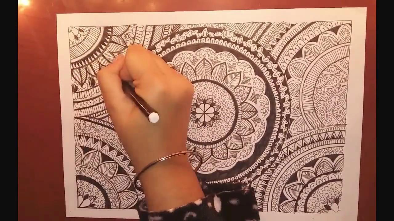 1280x720 Full Page Mandala Design Speed Drawing