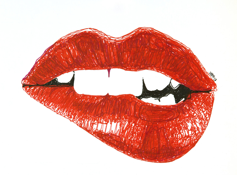 1500x1107 Fine Art giclee print marker drawing biting lip