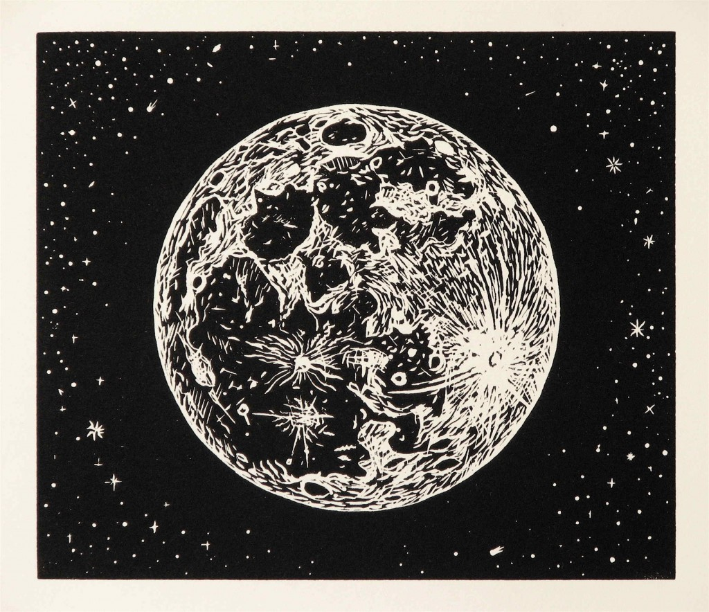 1024x884 Full Moon, Linocut Print On Rives Bfk Paper, 2009 By Mike Schultz