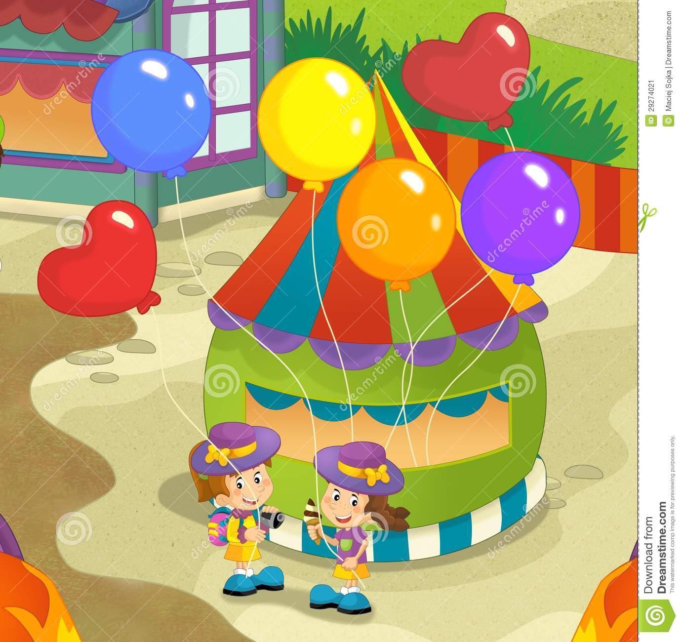 1381x1300 Funfair Drawing For Kids The Funfair Stock Image Funfair