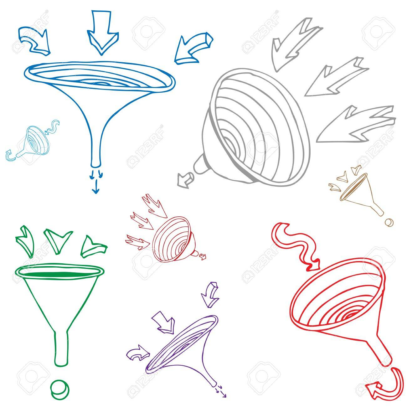 1300x1300 An Image Of A Funnel Arrow Drawing Set. Royalty Free Cliparts