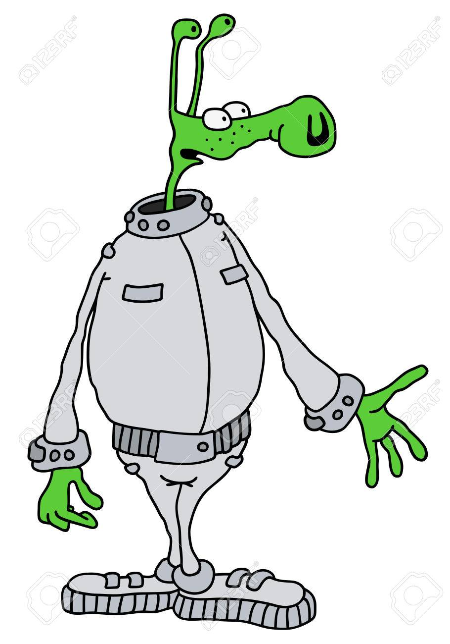 910x1300 Drawing Of A Funny Green Alien Royalty Free Cliparts, Vectors,