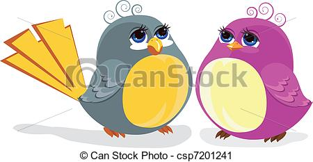 450x233 Two Funny Birds. Color Illustration Vector Clip Art