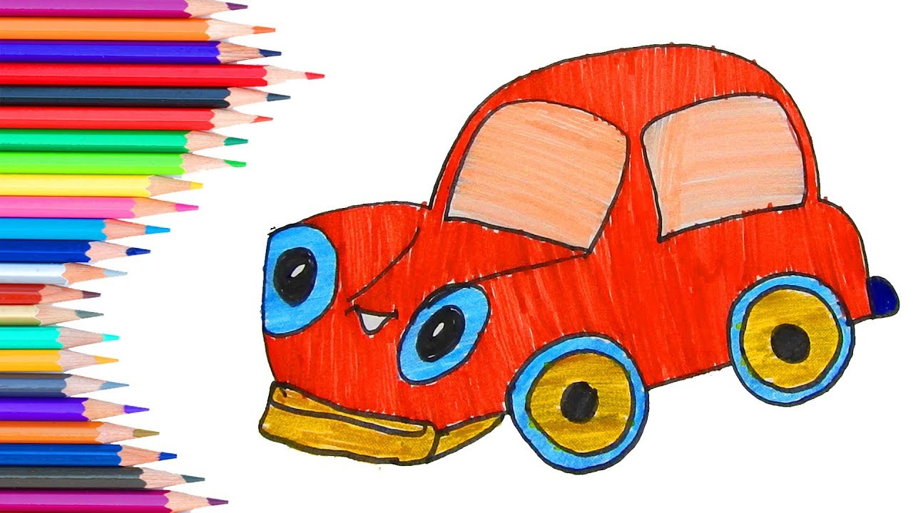 1280x720 Easy Art2drawing Funny Car For Learner Kids Learn Colors
