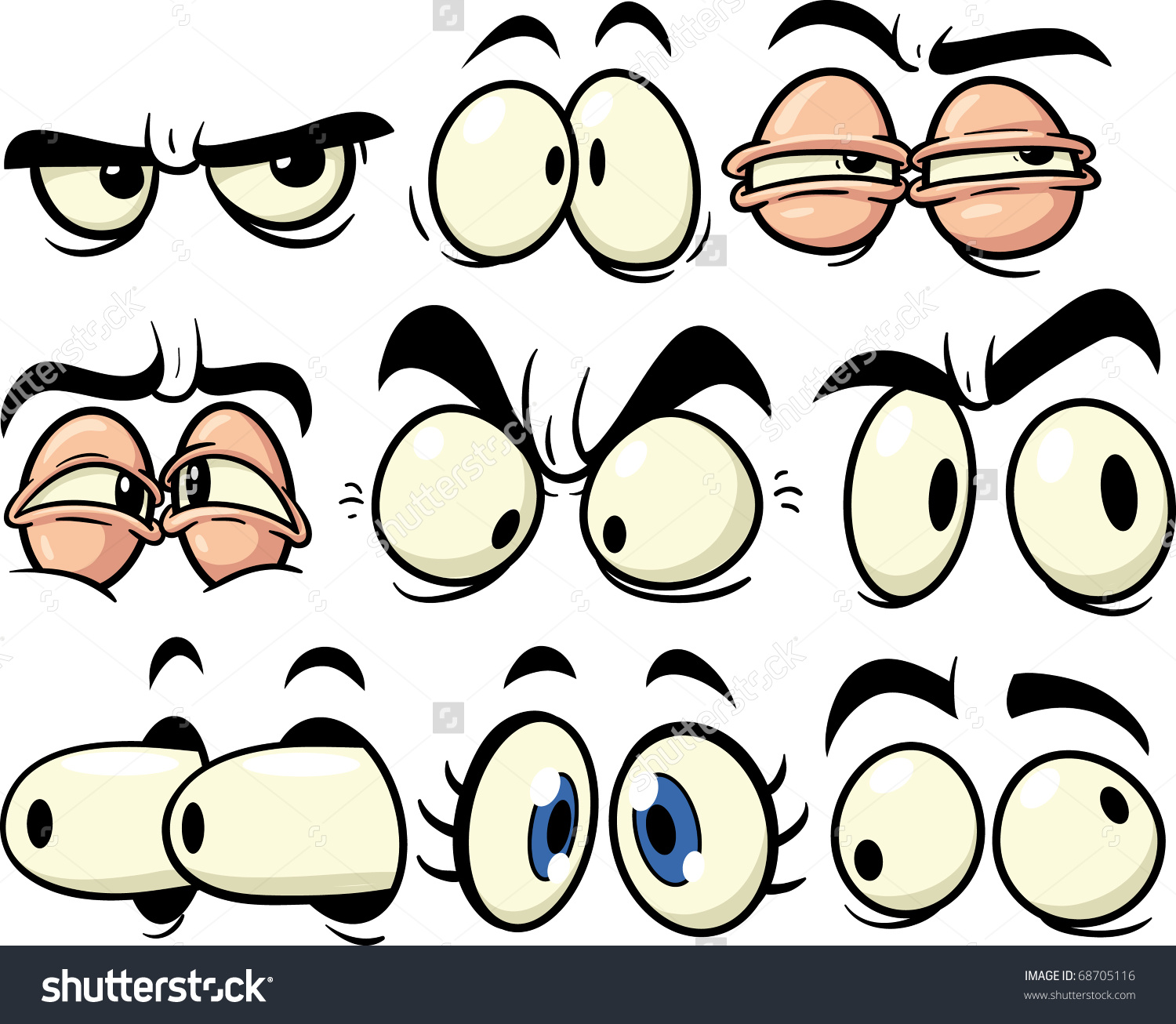 1500x1306 Funny Cartoon Eyes. All In Separate Layers For Easy Editing