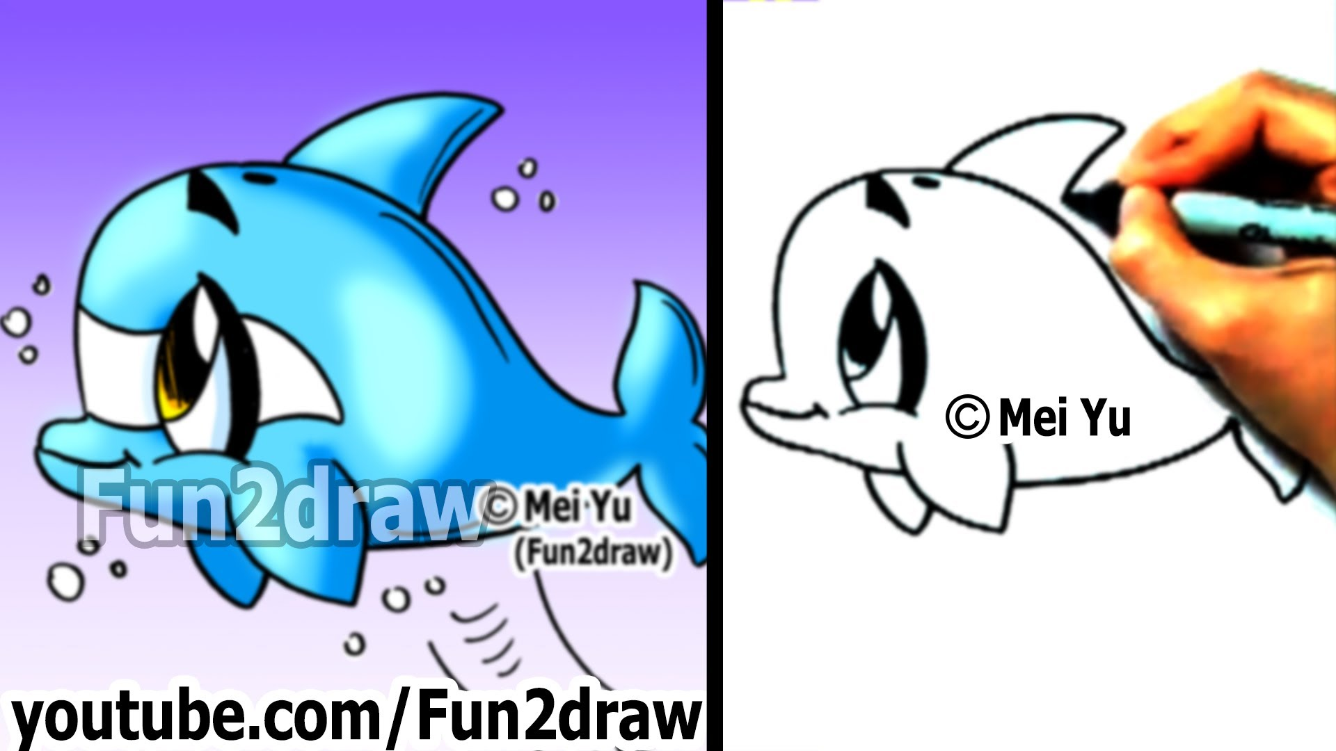 1920x1080 How To Draw A Cartoon Dolphin In 2 Min