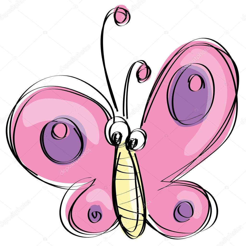 1024x1024 Cartoon Pink Butterfly With Funny Face As Naive Children Drawing