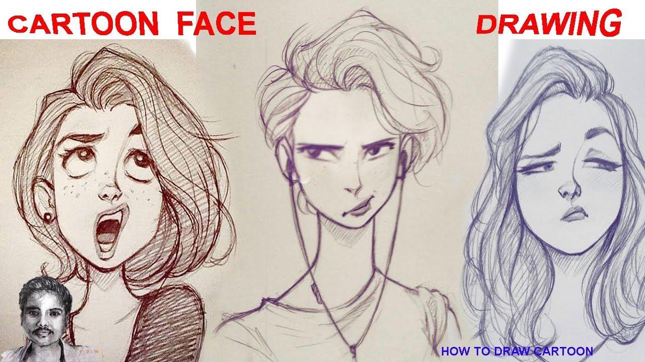 1280x720 Cartoon Face Drawing Funny Beautiful Girl