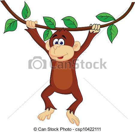 450x440 Funny Monkey Hanging. Vector Illustration Of Funny Monkey Vector