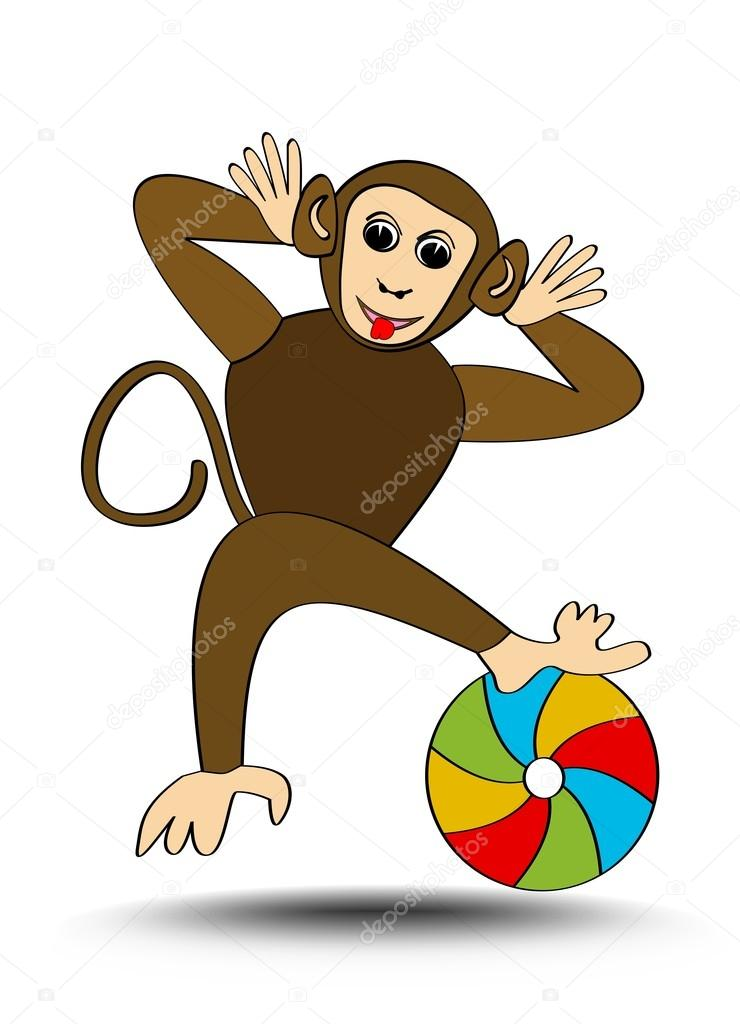 740x1024 Little Funny Monkey Playing With Colorful Beach Ball, Isolated