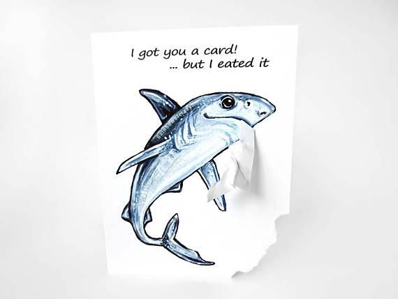 570x428 Funny Shark Card Blue Shark Art Handmade Card Blank Card