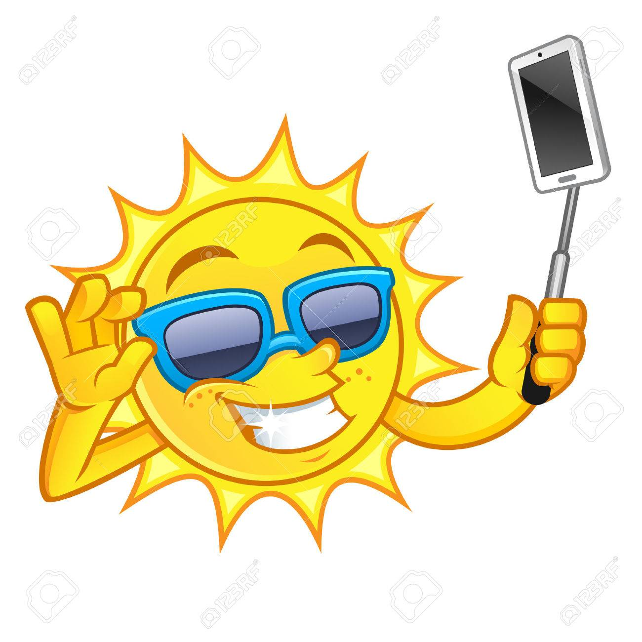 1300x1300 Funny Drawing Of A Sun, I Is Making A Selfie With His Mobile