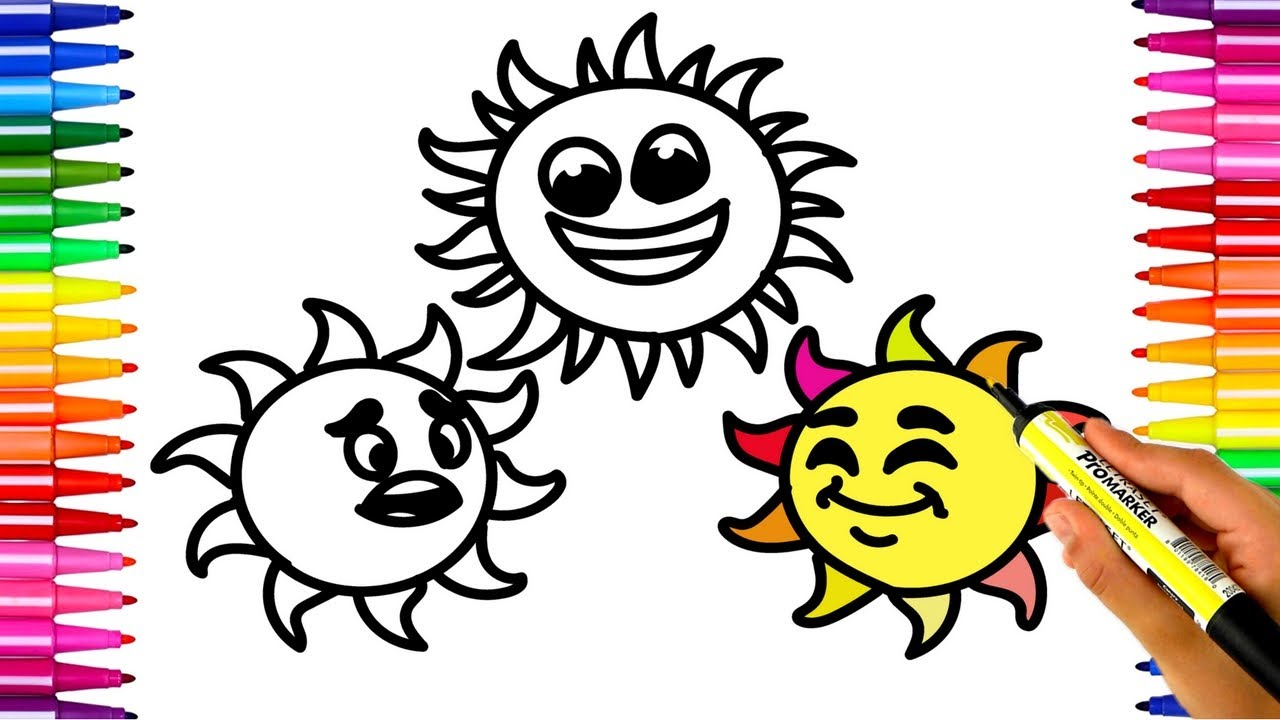 1280x720 How To Draw Funny Sun Kids Drawing And Coloring Videos Art