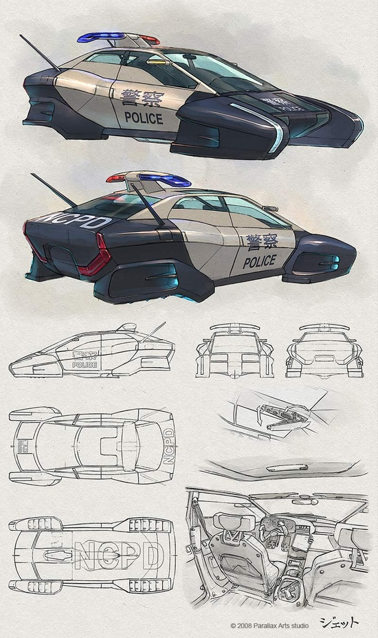 550x928 Futuristic Car, Flying Vehicle, Future Police, Jet Arts (Dmitry