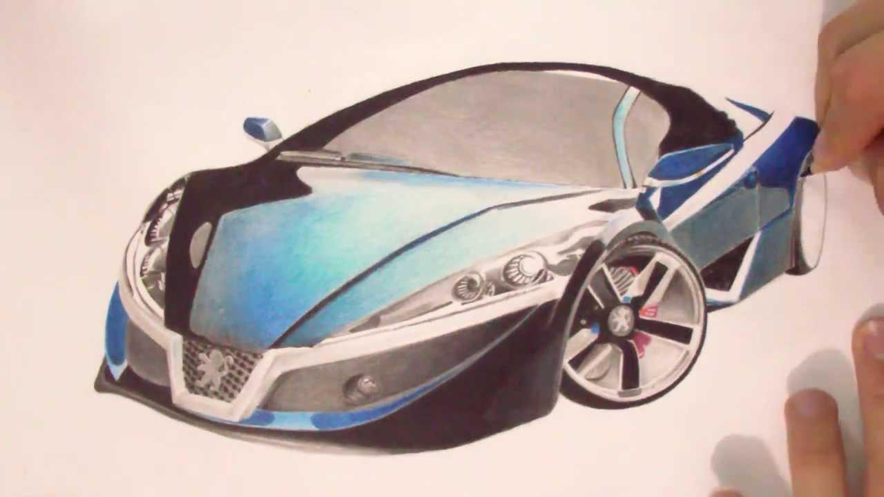 1280x720 Peugeot Futuristic Car Drawing By Ismairu