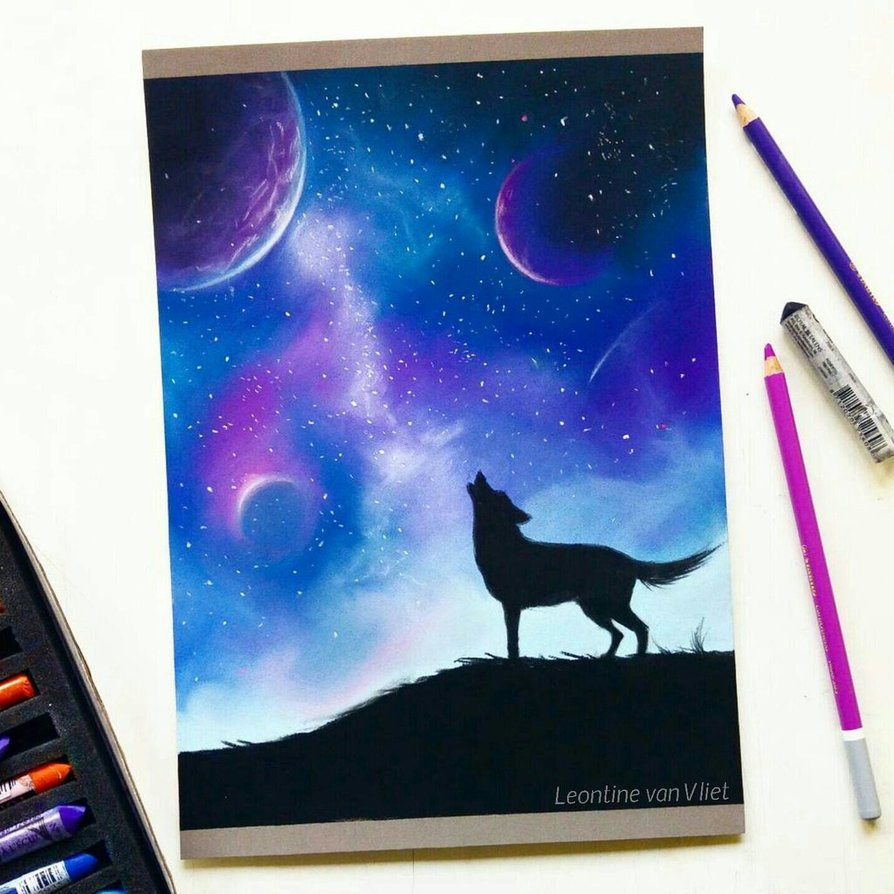 894x894 Galaxy Pastel Drawing By Tinesdierportretten